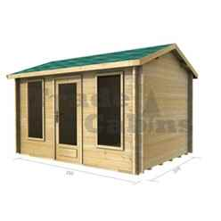 3.5m x 2.5m (12 x 8) Apex Log Cabin (2038) - Double Glazing + Single Door - 70mm Wall Thickness