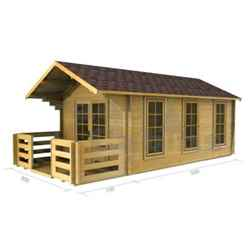 3m x 5m (10 x 16) Apex Log Cabin (2017) - Double Glazing - 44mm Wall Thickness