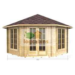 4.5m X 4.5m (15 X 15) Octagonal Log Cabin (2082) - Double Glazing + Double Doors - 44mm Wall Thickness