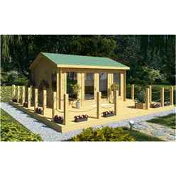 4.5m X 3.5m (15 X 12) Apex Reverse Log Cabin (2075) - Double Glazing + Double Doors - 44mm Wall Thickness