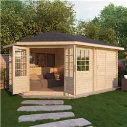 5m x 3m Corner Log Cabin (Double Glazing) + Free Floor & Felt & Safety Glass (34mm) ***LEFT