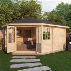5m x 3m Corner Log Cabin (Single Glazing) + Free Floor & Felt & Safety Glass (44mm) ***LEFT