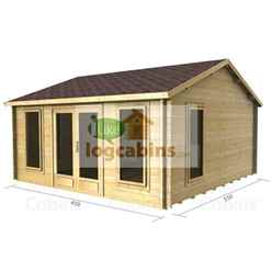 4.5m X 5.5m (15 X 18) Apex Reverse Log Cabin (2078) - Double Glazing + Double Doors - 44mm Wall Thickness