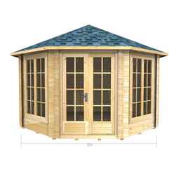 3.5m x 3.5m (12 x 12) Octagonal Log Cabin (2043) -  Double Glazing + Double Doors - 70mm Wall Thickness