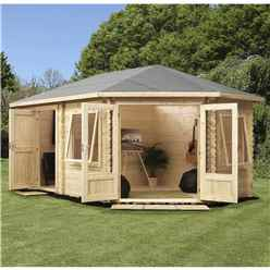 5m x 3m Corner Log Cabin (Single Glazing) + Free Floor & Felt & Safety Glass (34mm) ***RIGHT