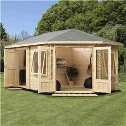 5m x 3m Corner Log Cabin (Single Glazing) + Free Floor & Felt & Safety Glass (44mm) ***RIGHT