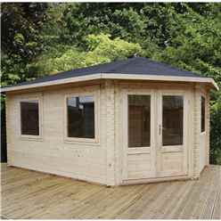 5m x 3m Extended Corner Log Cabin (Double Glazing) + Free Floor & Felt & Safety Glass (28mm) - Right Door