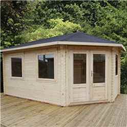 5m x 3m Extended Corner Log Cabin (Single Glazing) + Free Floor & Felt & Safety Glass (44mm) - Right Door