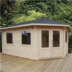 5m x 3m Extended Corner Log Cabin (Single Glazing) + Free Floor & Felt & Safety Glass (44mm) - Right Door