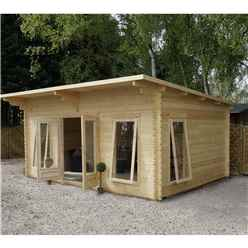 4m x 5.2m Modern Log Cabin (Double Glazing) + Free Floor & Felt & Safety Glass (34mm)