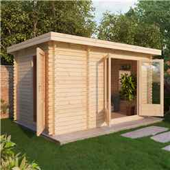 4m x 2.5m Pent Log Cabin (Double Glazing) + Free Floor & Felt & Safety Glass (34mm Tongue and Groove)