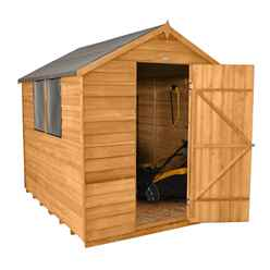 8ft x 6ft Overlap Apex Wooden Garden Shed With 2 Windows And Single Door (2.4m x 1.9m)