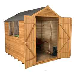 8ft x 6ft Overlap Apex Wooden Garden Shed With 2 Windows And Double Doors (2.4m x 1.9m)