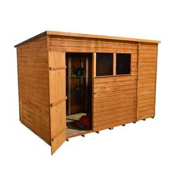 10 X 6 Overlap Pent Wooden Garden Shed + Single Door + 2 Windows