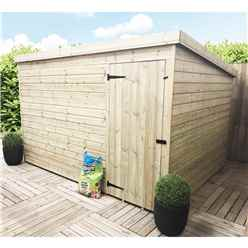 10 x 7 Windowless Pressure Treated Tongue And Groove Pent Shed With Single Door (Please Select Left Or Right Door)
