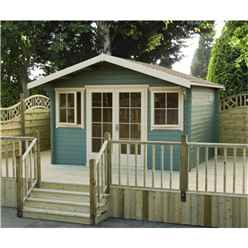3.59m x 4.19m Log Cabin + Fully Glazed Double Doors - 70mm Wall Thickness