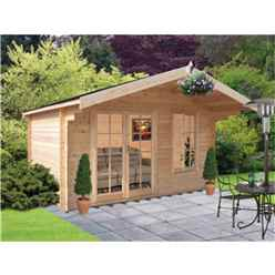 3.59m X 2.39m Log Cabin + Fully Glazed Double Doors - 34mm Wall Thickness