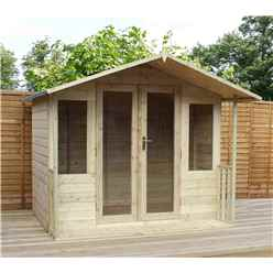 8 x 7 Pressure Treated Tongue And Groove Apex Summerhouse + Veranda