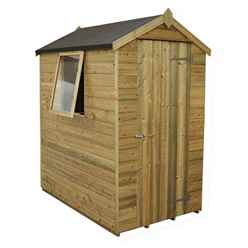 6 x 4 (1.9m x 1.3m) Pressure Treated Tongue And Groove Apex Shed With Single Door and 1 Window