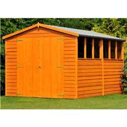 12 X 6 (3.59 X 1.85m) - Overlap Dip Treated - Apex Garden Shed - 6 Windows - Double Doors - 10mm Solid Osb Floor - Core