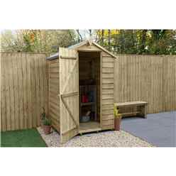 INSTALLED 4 x 3 (1.3m x 0.9m) Pressure Treated Overlap Apex Wooden Garden Shed With Single Door