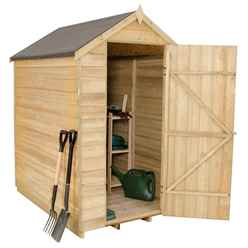 6 x 4 (1.8m x 1.3m) Pressure Treated Windowless Overlap Apex Wooden Garden Shed With Single Door