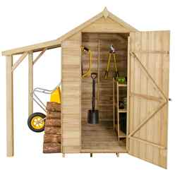 6ft x 4ft Pressure Treated Overlap Apex Wooden Garden Shed With Lean To (2.1m x 1.8m)