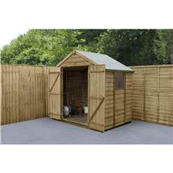 INSTALLED 5 x 7 (1.5m x 2.2m)  Pressure Treated Overlap Apex Wooden Garden Shed With Double Doors and 2 Windows