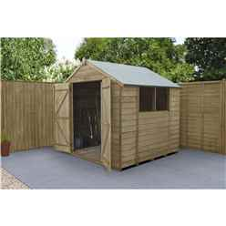 INSTALLED 7 x 7 (2.2m x 2.1m) Pressure Treated Overlap Apex Wooden Garden Shed With Double Doors and 2 Windows