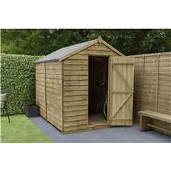 INSTALLED 8ft x 6ft (2.4m x 1.9m) Pressure Treated Windowless Overlap Apex Wooden Garden Shed With Single Door - Modular - CORE