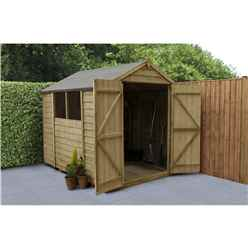 INSTALLED 8 x 6 (2.4m x 1.9m) Pressure Treated Overlap Apex Wooden Garden Shed with Double Doors and 2 Windows