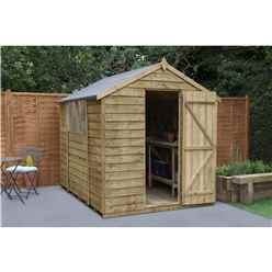 INSTALLED 8ft x 6ft (2.4m x 1.9m) Pressure Treated Overlap Apex Wooden Garden Shed With Single Door - Modular Design - CORE