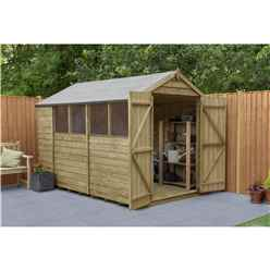 Installed 10ft X 6ft (3.1m X 1.9m) Pressure Treated Overlap Apex Shed With Double Doors And 4 Windows - Modular - Core (bs)