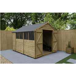 10 x 8 Pressure Treated Overlap Apex Wooden Garden Shed - Double Doors - 4 Windows (3.1m x 2.5m)