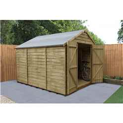 INSTALLED 10 x 8 Pressure Treated Overlap Apex Wooden Garden Shed - Double Doors - Windowless (3.1m x 2.5m) - INCLUDES INSTALLATION