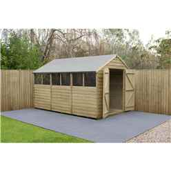 12 x 8 (3.7m x 2.6m) Pressure Treated Overlap Apex Shed With Double Doors and 6 Windows