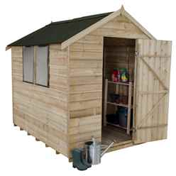 8 x 6 (2.4m x 1.9m) Overlap Apex Wooden Garden Shed With Single Door and 2 Windows - Onduline Roof