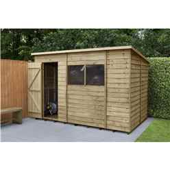 Installed 10ft X 6ft (1.9m X 3.1m) Pressure Treated Overlap Pent Shed With Single Door And 2 Windows - Modular