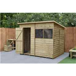 INSTALLED 8ft x 6ft (2.4m x 1.9m)  Pressure Treated Overlap Pent Shed With Single Door and 2 Windows - Modular - CORE