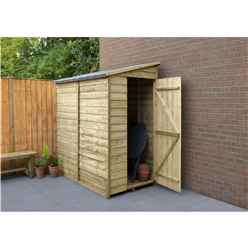 INSTALLED 6 x 3 (1.8m x 1.1m) Windowless Pressure Treated Overlap Pent Shed With Single Side Door