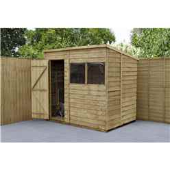 5 x 7 (1.5m x 2.1m) Pressure Treated Overlap Pent Shed With Single Door and 2 Windows