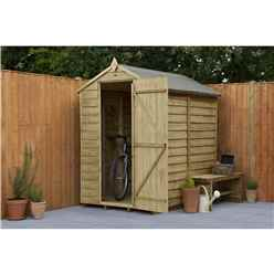 4 x 6 (1.3m x 1.8m) Overlap Pressure Treated Reverse Apex Shed With Single Door and 1 Window