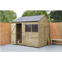 INSTALLED 6 x 8 (1.9m x 2.4m) Overlap Pressure Treated Reverse Apex Shed With Single Door and 1 Window