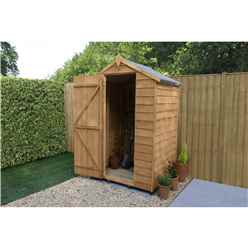 INSTALLED 4 x 3 (1.3m x 0.9m) Windowless Overlap Apex Shed With Single Door - Modular - CORE