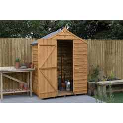 Installed 3 X 5 (1m X 1.6m) Windowless Overlap Apex Shed With Single Door - Modular - *door Is On The 5ft Side