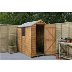 6 X 4 Overlap Apex Wooden Garden Shed With 1 Window And Single Door - Assembled