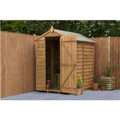 Installed 6 X 4 Overlap Apex Wooden Garden Security Shed Windowless (1.8m X 1.3m) - Modular - Includes Installation (core)