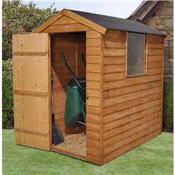 6 x 4 Overlap Apex Wooden Garden Security Shed + 1 Window