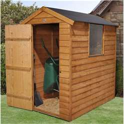 6 x 4 Overlap Apex Wooden Garden Security Shed + 1 Window - Assembled