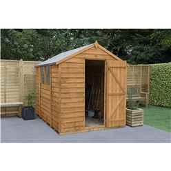 INSTALLED 8 x 6 Overlap Apex Wooden Garden Shed With 2 Windows And Single Door (2.4m x 1.9m) - Modular - INCLUDES INSTALLATION - CORE